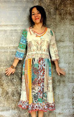 Upcycled India embroidered patchwork long tunic dress. Made from recycled India T-shirts and another recycled clothing. Remade, reused and recycled. Hippie boho bohemian style. One of a kind. Size: M (european 38) Bust line max 38 inches (97 cm) Waist max 36 inches (92 cm) Hips line max 43