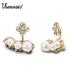 Viennois Fashion Mini Pearl Stud Earrings Women  Jewelry coffee gold Accessrioy #Viennois #Stud