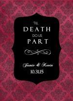 Gothic Red and Black Damask Halloween (Set) Wedding Invitation
