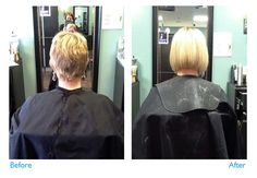 Before and After. great lengths extensions  on short hair by Heather.