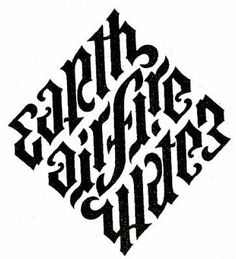 Elements ambigram from Angels & Demons by John Langdon