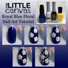 The Little Canvas: The Beauty Buffs - Royal Blue (Floral Nail Art Tutorial) #thebeautybuffs