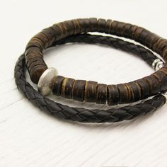 Men's Cocount Wood Bracelet with Sterling Silver / rustic brown rugged natural / men dude guy man / woodland bohemian musician inspired. $42.00, via Etsy.
