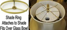 Shade Ring Fits Snugly Over White Bowl Glass Shade, 2 Sizes: and Fitter Fabric Lampshade, Lampshades, Torchiere Lamp, Floor Lamp Shades, Vintage Lamps, Fabric Shades, Brass Color, Glass Shades, White Bowl