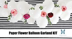 Handmade specially for Simply Confetti. This whimsical balloon garland is elegant and beautiful. Each flower is handmade in a variety of pinks and reds. Perfect for a baby shower, birthday, or use as a backdrop for your pictures.