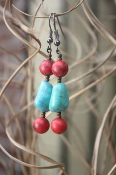 Handmade Turquoise and Red Beaded Bracelet & by rivergrass on Etsy, $28.00