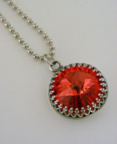Silver Necklace  Bright Orange Large by chloesvintagejewelry, $29.50