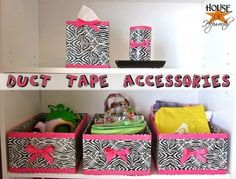 You can create your own storage boxes for makeup, bath stuff, and more...I made these without the bows :)