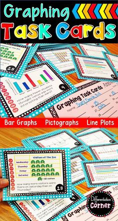 Graphing Task Cards: Line Plots,Bar Graphs and Pictographs - Real Time - Diet, Exercise, Fitness, Finance You for Healthy articles ideas Special Education Organization, Special Education Math, Math Stations, Math Centers, 2nd Grade Math, Grade 3, Fourth Grade, Second Grade, Math Classroom