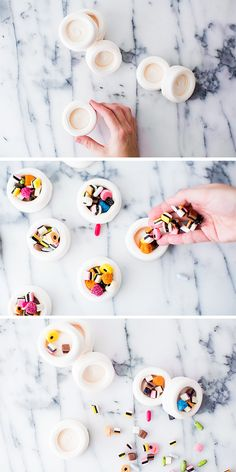 Meringue candy cups. Wouldn't these be delightful with See's Candies?