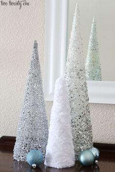 fuzzy christmas tree cones via @Chelsea | two twenty one