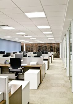Unnamed Company Office Photo Featuring Lay-In / Troffer, Open Office, Storage. Corporate Office Design, Office Space Design, Modern Office Design, Office Interior Design, Office Interiors, Office Designs, Interior Ideas, Contemporary Stairs, Contemporary Building