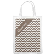 Mocha Brown Chevron Reusable Grocery Bag .................This design features a Mocha Brown Chevron pattern. The TEXT on both sides can be customized with your own. Check out my store for more colors.