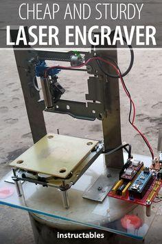 printer design printer projects printer diy CNC CNC Make a cheap and sturdy laser engraver using an Arduino nano. Diy Cnc, Diy Laser Engraver, Laser Engraving, Cnc Projects, Arduino Projects, Diy Electronics, Electronics Projects, Electronics Components, Arduino Cnc