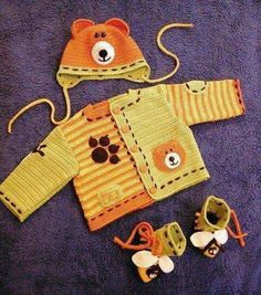 cute colors and details - no pattern Crochet Slouchy Beanie Pattern, Crochet Cowl Free Pattern, Crochet Baby Jacket, Baby Afghan Crochet, Crochet Mittens, Crochet Bebe, Crochet Baby Clothes, Crochet For Kids, Knit Crochet