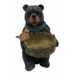 Alpine 9 in. Bear Statue with Decorative Birdfeeder - LWA114