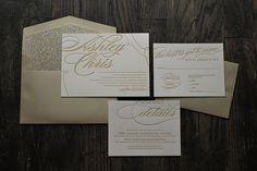 Champagne and gold glitter letterpress wedding invitation