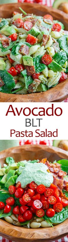 Avocado BLT Nudelsalat Pasta - Pasta salad - shrimp Pasta - Pasta rezepte - Source Nudelgerichte - N Blt Pasta Salads, Pasta Salad Recipes, Avocado Recipes, Healthy Recipes, Spinach Salads, Avocado Pasta, Avocado Salads, Paleo Pasta, Sauces