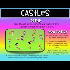 This is called 'Castles' and focuses on kicking / passing with accuracy. Watch for instructions and modifications to the game Physical Education Activities, Pe Activities, Movement Activities, Education Quotes, Health Education, Pe Games Elementary, Elementary Schools, Meeting Games, Primary Games
