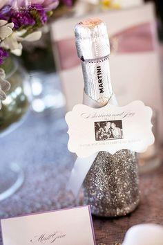 Elegant Wedding Reception Invitations from Chic Ink | Glitter Champagne Bottles | Silver Glitter