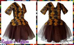 Brown & mustard yellow traditional outfit with a brown tutu skirt, peplum top and sleeves.