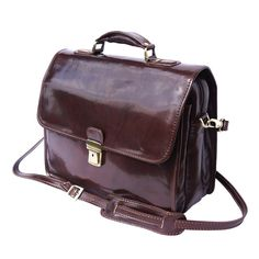Italian Handmade Leather Briefcase In Dark Brown 7615 Leather Briefcase, Florence Italy, Handmade Leather, Leather Handle, Italian Leather, Dark Brown, Fashion Accessories, Wallet, Bags