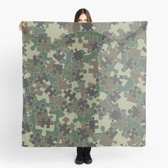 """""""Jigsaw Puzzle Pieces Camo WOODLAND GREEN"""" Scarf by GrandeDuc 
