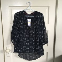 Sperry black blouse w/white sailboats size M Sperry black sheer blouse with white sailboat print, size medium.  Great for the office, or with jeans.  NWT. Sperry Top-Sider Tops Blouses
