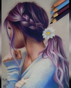 The Secrets Of Drawing Realistic Pencil Portraits - Pretty colored pencil drawing, hair, Daisy flower, and braid. Secrets Of Drawing Realistic Pencil Portraits - Discover The Secrets Of Drawing Realistic Pencil Portraits Amazing Drawings, Beautiful Drawings, Cool Drawings, Amazing Art, Horse Drawings, Colorful Drawings, Fantasy Kunst, Color Pencil Art, Color Pencil Drawings