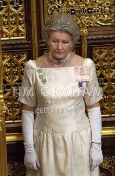 Lady Diana Farnham, Lady-in-waiting to Queen Elizabeth II, wearing a delicate diamond belle epoque tiara to the State Opening of Parliament.