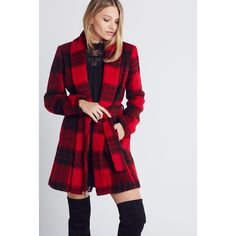 BCBGeneration Plaid D-Ring Coat ($218) ❤ liked on Polyvore featuring outerwear, coats, red, bcbgeneration, tartan coat, red tartan coat, plaid coat and red plaid coat