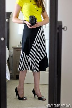 Sttich Fix Diana black and white Diagonal Striped Colorblocked swing skirt from Mystree paired with a bright yellow top and heels