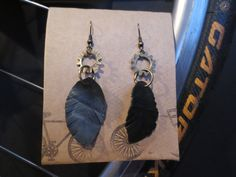 Recycled Bicycle bike Tube Feather Earrings by maybirdjewelry