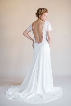 Flowy Wedding Dresses: darling by heidi elnora. A new bridal gown collection by Heidi Elnora with laid-back breezy beach or destination wedding dress bridal gown styles. Low Back Wedding Gowns, Boho Wedding Dress, Lace Wedding, Dream Wedding, Wedding Bells, Wedding Ceremony, Bridal Lace, Bridal Style, Bridal Gowns