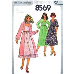 1970s Dress Pattern Simplicity 8569 Vintage by finickypatternshop