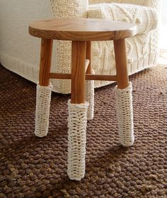 chunky knit cream leg warmers for chairs  $12