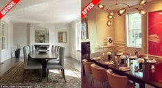 The dining room looks transformed, after the First Daughter stripped out the old dining table, chairs and rug (left) and replaced them with her own long wooden table, tan color chairs and Lindsey Adelman chandelier, worth $22,500 (right)
