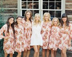 Shabby Chic Pink Bridesmaids Robes. Kimono Crossover Robe. Bridesmaids gifts. Getting ready robes. Bridal Party Robes. Floral Robes. Gowns