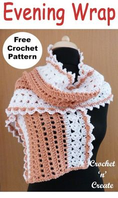 Ladies evening wrap free crochet pattern uk format, pretty and soft, lovely for Summer nights. #crochetncreate #crochetwrap #ukcrochetpatterns