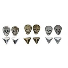 LOUNGEFLY SKULLS & STUDS EARRINGS SET  Add a little Loungefly to your lobes! This set of includes 3 pairs of distressed skull studs along with 3 pairs of pyramid stud earrings.  $13.00