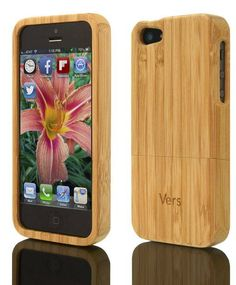 Real wood!   Looks chic and feels even better.    I want this!  :)  iPhone 5 Slimcase