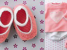 On craque pour ce modèle de chaussons à brides spécial petite fille. Ils sont tricotés au point mousse, découvrez aussi la brassière motif cœur assortie....