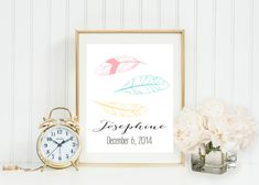Colorful Feather Monogram and name nursery wall art, yellow, turquoise, and pink, nursery decor, date of birth, Gray Frames Digital Print
