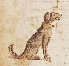 "Chaucerian dog - It's About Time: Dog Days of Summer - Over 40 Dogs of the Middle Ages ""rescued"" from illuminations, tapestries, & even playing cards..."