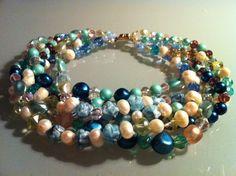 Collier composé de 6 rangs de mélange de perles vintage années 50, perles de culture et perles à facette de Bohême.  ANEHO Création Necklaces  www.a-neho.com Diy Jewelry, Jewelry Making, Beaded Necklace, Beaded Bracelets, Creations, Vintage, Beads, Necklaces, Beaded Collar