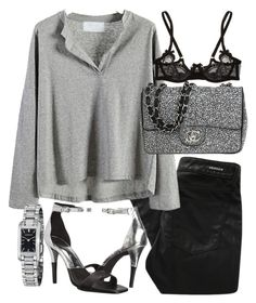 """""""Untitled #19235"""" by florencia95 ❤ liked on Polyvore featuring Denham, Chanel, Agent Provocateur, Calvin Klein and Burberry"""