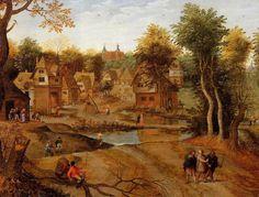 Pieter Bruegel - Village Landscape with Ammaus Pilgrims