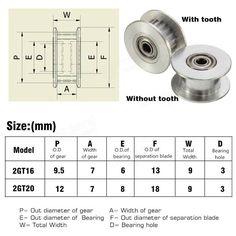 16T / 20T GT2 Alumínium Timing hajtótárcsa DIY 3D nyomtató nélkül / Tooth