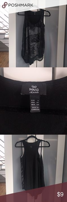 MNG Jeans black tank with graphic underlay USA XS Mango Tops Tank Tops