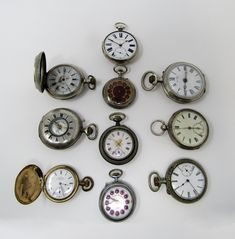 Lot of 10 pocket watches, late - early Century. Philadelphia Usa, Pocket Watches, Alarm Clock, Bracelet Watch, Manual, Plating, American, Silver, Gold